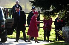 Radiant: The Queen greets locals as she arrives at the church of St Mary Magdalene in Sandringham