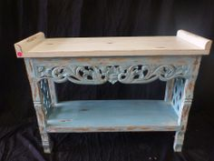 Balinese Timber Hand Carved Panel Sideboard Console Dresser Blue & White Rustic