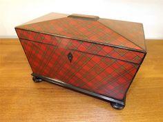 Superb Antique Tartan Ware Royal Stewart Tea Caddy. 1850