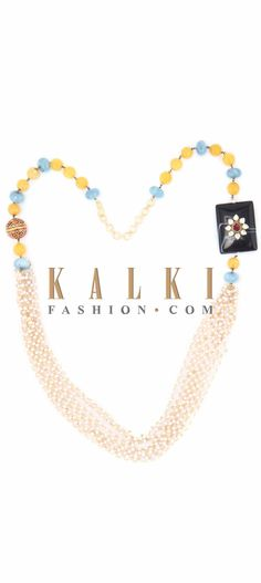 Buy Online from the link below. We ship worldwide (Free Shipping over US$100) Price-$59 Click Anywhere to Tag http://www.kalkifashion.com/featuring-necklace-in-white-blue-and-yellow-moti-only-on-kalki.html