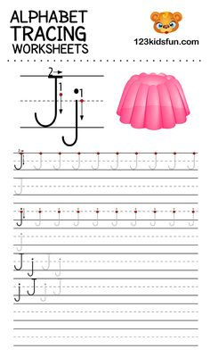 Alphabet Tracing Worksheets A-Z free Printable for Preschooler and Kindergartener. This Alphabet Tracing is a great activity for kids to practice letter recognition and handwriting skills. Printable letter J tracing worksheet. Free Printable Alphabet Worksheets, Alphabet Tracing Worksheets, Tracing Letters, Phonics Worksheets, Handwriting Worksheets, Handwriting Practice, Printables, Alphabet Writing Practice, Alphabet For Kids