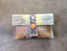 Painted Clutch Purse in Soft Pastels Unique by itzaChicThing