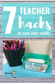 7 of the best teacher hacks that will help you get organized, and also save your sanity! These hacks include: organization for supplies, calendar number hacks, free name tag reference sheets and free teacher magnet templates! These are perfect for ideas elementary teachers!