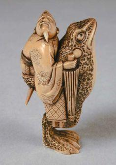 GAMA SENNIN | gama sennin and toad netsuke carved by yukisama late 19th century ...