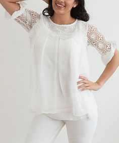 Look at this White Crewneck Lace Top on #zulily today!