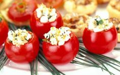 Perfect for your next potluck, cherry tomatoes stuffed with cheese and Mrs. Dash® seasonings are a tasty take on appetizers. Dash Recipe, Appetizer Recipes, Appetizers, Cherry Tomato Recipes, Lobster Mac And Cheese, Tasty, Yummy Food, Cherry Tomatoes, Bon Appetit