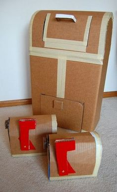 15 Things to make out of cardboard to play with, Post office for writing center but more ideas for dramatic play