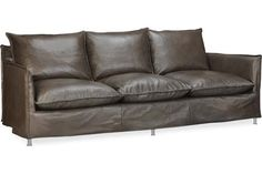Lee Industries: LS1295-03 Leather Slipcovered Sofa