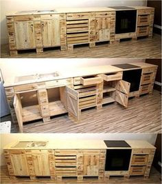 Pallet Furniture Ideas Now come to the kitchen because there is no a single area in a home for which the pallets cannot be modified to create any furniture piece, so here is the reused wood pallet kitchen cabinet idea which is looking nice. Pallet Kitchen Cabinets, Kitchen Cabinet Interior, Kitchen Furniture, Wood Pallet Furniture, Diy Furniture, Handmade Furniture, Furniture Stores, Furniture Projects, Luxury Furniture