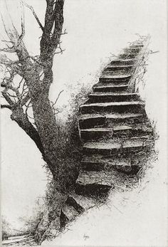 Image search result for kathleen caddick - Marcus Jackson - Art Drawings Sketches, Pencil Drawings, Wow Art, Landscape Drawings, Art Graphique, Stairways, Painting & Drawing, Printmaking, Art Photography