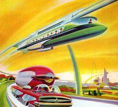 Monorail Car Retro Space Age