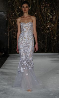 Sheer, strapless gown with floral appliques | Mira Zwillinger Spring 2017 | https://www.theknot.com/content/mira-zwillinger-wedding-dresses-bridal-fashion-week-spring-2017