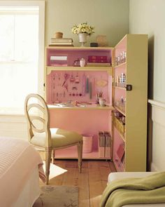 What may appear at first glance to be an unconventional armoire is actually a set of bookcases attached along one side.
