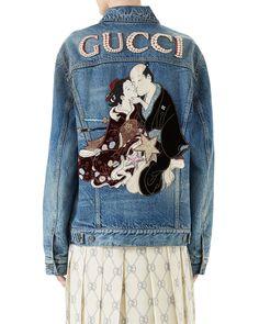 4c7b45a1dd1 Gucci Guccy Teddy Bear Denim Jacket 2018