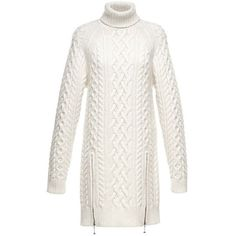 Alexander Wang Knit Dress (970 CAD) ❤ liked on Polyvore featuring dresses, long sleeve dresses, long turtleneck dress, white sleeve dress, long dresses and cable turtleneck