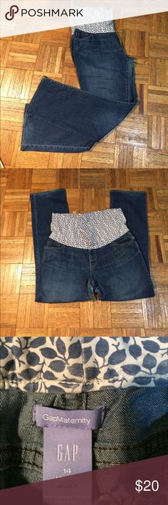 GAP maternity jeans 👖 size 14 This is a very nice pair of maternity jeans by gap size 14 dimensions are hips 45 inseam 30 in half length 45, there is somewhere in  the seat of the pants look at pics GAP Jeans Straight Leg