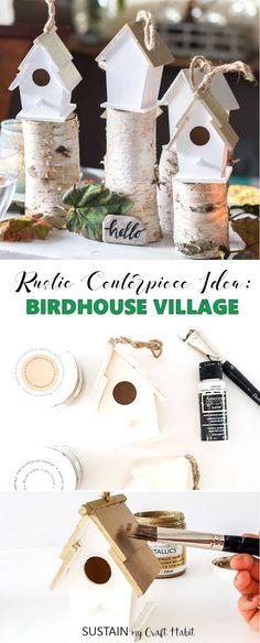 rustic centerpiece idea | rustic Thanksgiving #centerpieces | cheap wedding centerpieces | Christmas decorating | #fall tablescapes | #diy #birdhouses #birdhousecrafts