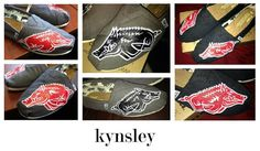 Custom Hand Painted Arkansas Razorback TOMS Shoes by ruelledesigns, $85.00