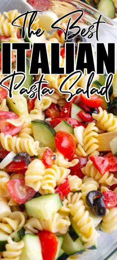 Easy Cold Pasta Salad, Easy Pasta Salad Recipe, Best Pasta Salad, Summer Pasta Salad, Pasta Salad Classic, Pasta Salad Ingredients, Healthy Pasta Salad, Italian Dressing Pasta Salad, Italian Dressing Recipes