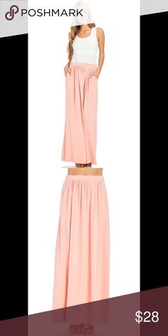 Blush Maxi Skirt Blush Maxi Skirt w/Pockets and elastic waistband. 95%Rayon 5% Spandex, soft and stretchy material. Multiple sizes are available. BUNDLE and save 10%; Save on shipping by bundling. Skirts Maxi
