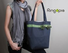 Sale 20% OFF-Ready To Ship-Zipper Tote in by ringopie on Etsy