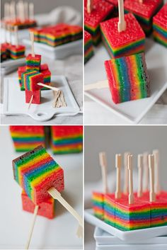 Rainbow cake/cookie Cubes---These are beautiful! I bet they're delicious, too! Must try!