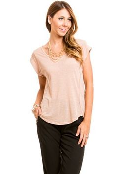 Basic Folded Tee in Brown | $16 at www.heavenlycouture.com