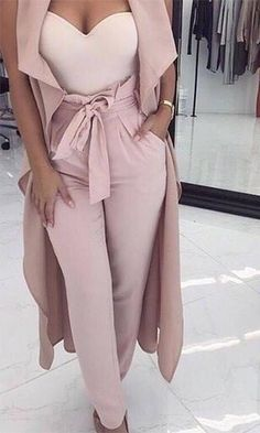 outfit pants Curtain Call Light Pink Gathered Fold High Waist Tie Belt Pants - Sold Out Classy Outfits, Chic Outfits, Fall Outfits, Summer Outfits, Mode Kimono, Look Fashion, Womens Fashion, Dinner Outfits, Dinner Outfit Classy