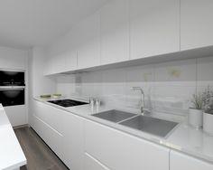 Modelo Laminado Blanco | Encimera Silestone Blanco Suede Kitchen Cabinet Styles, Kitchen Cabinets Decor, Kitchen Paint, Kitchen Benches, Rustic Kitchen, Kitchen Dining, Best Kitchen Designs, Modern Kitchen Design, Beautiful Kitchens