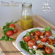 Honey Mustard Chicken Salad - Thermomix Recipe - Cooking in the Chaos Balsamic Vinegar Chicken, Honey Mustard Chicken, Yummy Food, Tasty, Spinach Leaves, Shredded Chicken, Chicken Salad, Cherry Tomatoes, Pork