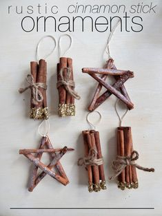 DIY Rustic Cinnamon Stick Ornaments – Consider the Peel Part two of my tree decorating frenzy included making rustic ornaments made from cinnamon sticks. I've got two different tutorials here for you today, each super easy and super cute. Homemade Ornaments, How To Make Ornaments, Homemade Christmas, Christmas Diy, Ornaments Ideas, Christmas Crafts For Gifts For Adults, Cinnamon Ornaments, Ornament Crafts, Rustic Christmas Ornaments