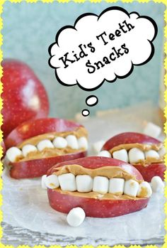 FUN and simple kid's snack - perfect for halloween, monsters, tooth lessons, brushing habits, kids parties, tooth fairy and more!