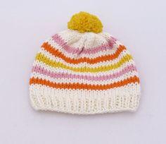 Lemonade - New born baby hat // baby shower // handmade // knit // striped // 100% cotton