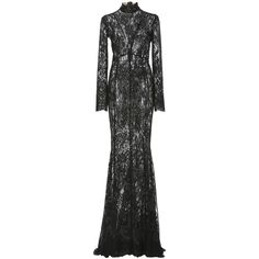 J. Mendel Lace Gown (€9.505) ❤ liked on Polyvore featuring dresses, gowns, black, high neck sequin dress, sequin evening gowns, lace evening gowns, high neck evening gown and high neck lace dress