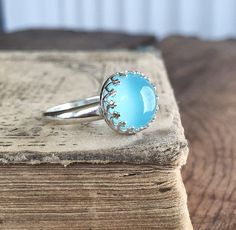 Blue Chalcedony and Sterling Silver Ring  Crown by FableBay