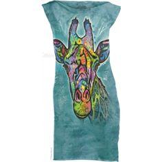 Russo Giraffe T-Shirt Mini Dress - The Mountain Cool Tees, Cool T Shirts, Mini Shirt Dress, Blue Tie Dye, Giraffe, Casual, Mens Tops, Mountain, Dresses