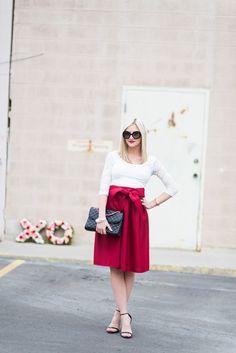 2.15 dressed up (Urban Outfitters top + SheInside skirt + Steve Madden heels + Rebecca Minkoff bag + Prada sunnies + MAC 'russian red' lips) <<Little Miss Fearless