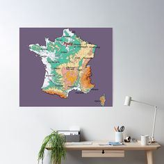 """map of FRANCE with relief topographic map of FRANCE with Major cities and Rivers Grape Compote background"" Poster by mashmosh France Map, Framed Maps, Topographic Map, Canvas Prints, Art Prints, Blank Walls, Background S, Top Artists, Rivers"