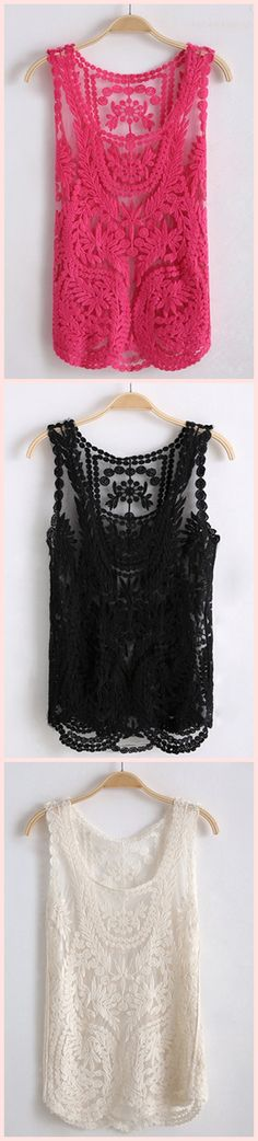 Sleeveless Round Neck Crocheted Lace Top .. so pretty for $36