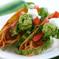 Have you heard of spaghetti tacos? They're from iCarly, and we have a version you'll WANT to eat with your kids.