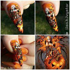Pumpkin Fairy by Ivystar - Nail Art Gallery nailartgallery.nailsmag.com by Nails Magazine www.nailsmag.com #nailart