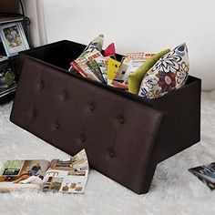 Leather Ottoman Storage Bench Seat Box Folding Portable Shoes Blankets Entryway #LeatherOttomanStorageBench #Modern