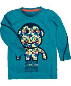 Name It leuke turquoise t-shirt met kleurrijke aap. name-it.nl.emilea.be