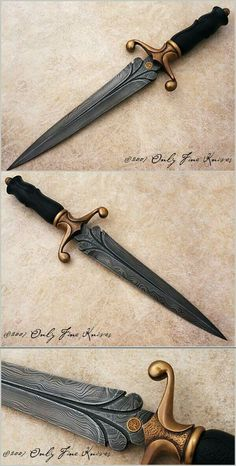 Dagger with Damascus blade and a bronze guard. I love the Damascus blades and it looks especially good on this knife. Pretty Knives, Cool Knives, Swords And Daggers, Knives And Swords, Damascus Blade, Damascus Steel, Dagger Knife, Lame, Knife Making