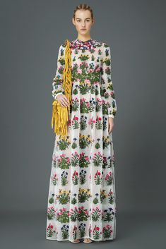 Valentino Pre-Fall 2015 Fashion Show floor length long sleeve high collar white floral block gown, perfect for luxe-bohemian  bride. ...Could be the ultimate luxe boho wedding dress for the trust-fund boho hippie bride