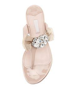 Miu Miu Patent Ornament Bow Flat Thong Sandal in Beige Perfect for a Beach wedding www.finditforweddings.com