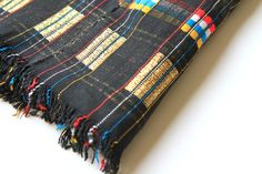 Petel vintage Fulani wedding blanket from Mali - black, gold, red, blue