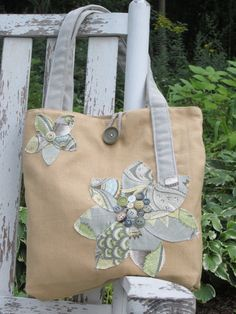Handmade Flower Tote Bag Tan Gray Blue by BerkshireCollections, $35.00