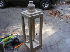 easy to make wooden lantern Diy Laterns, Porch Lanterns, Large Lanterns, Wooden Lanterns, Lanterns Decor, Wedding Lanterns, Wooden Crafts, Wooden Diy, Homemade Lanterns