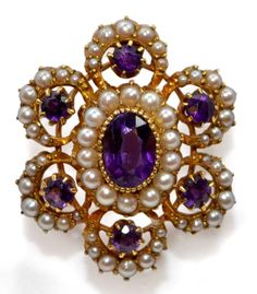 Victorian  Amethyst and Pearl Brooch